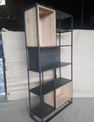 Bookscabinet with metal and oak and LED light